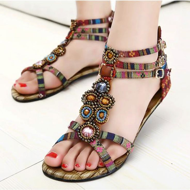 Boho Summer Womens Flat Ethnic Beaded Ankle Strap Beach Roma Sandals  US4.5-9.5