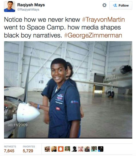 Notice how we never knew Trevon Martin went to Space Camp and hoe the media shapes black boy narratives.