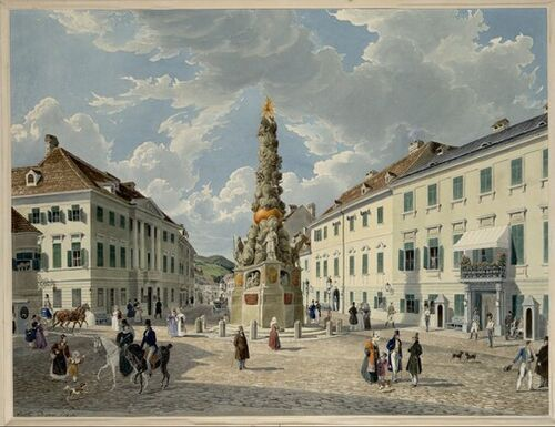 Eduard Gurk, Das Kaiserhaus in Baden bei Wien (Guckkastenblatt), 1833 © Albertina, Wien