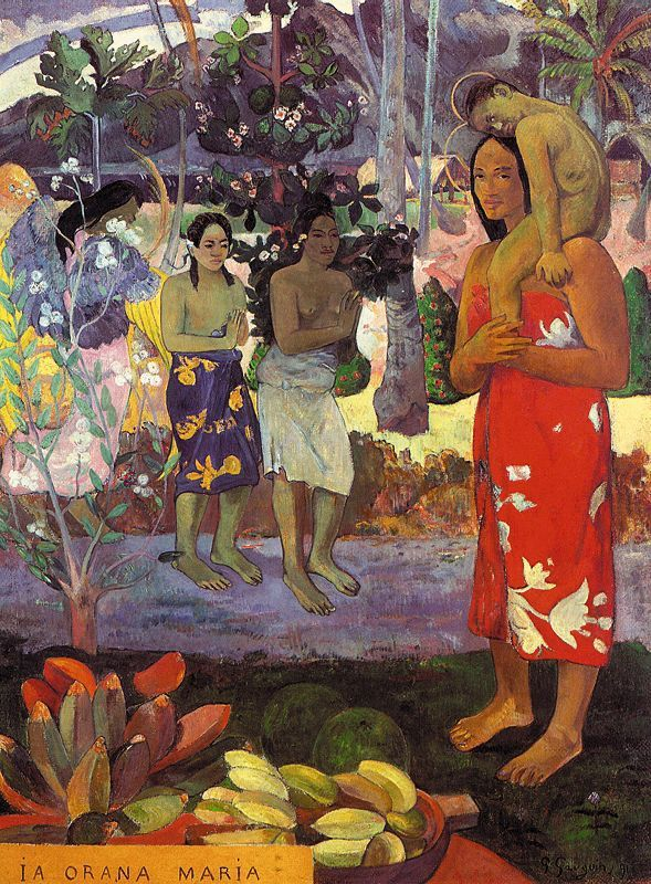 Gaugin.  I had this print in my dorm room - freshman year of college.  Eugène Henri Paul Gauguin (June 1848 – May 1903) was a leading French Post-Impressionist artist who was not well appreciated until after his death. Gauguin was later recognized for his experimental use of colors and synthetist style that were distinguishably different from Impressionism. His work was influential to the French avant-garde and many modern artists, such as Pablo Picasso, and Henri Matisse.