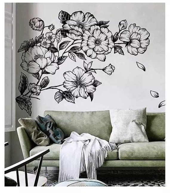 Flowers Wall Art Stickers Craft DIY Decal Refrigerator Bedroom Home Window Decor