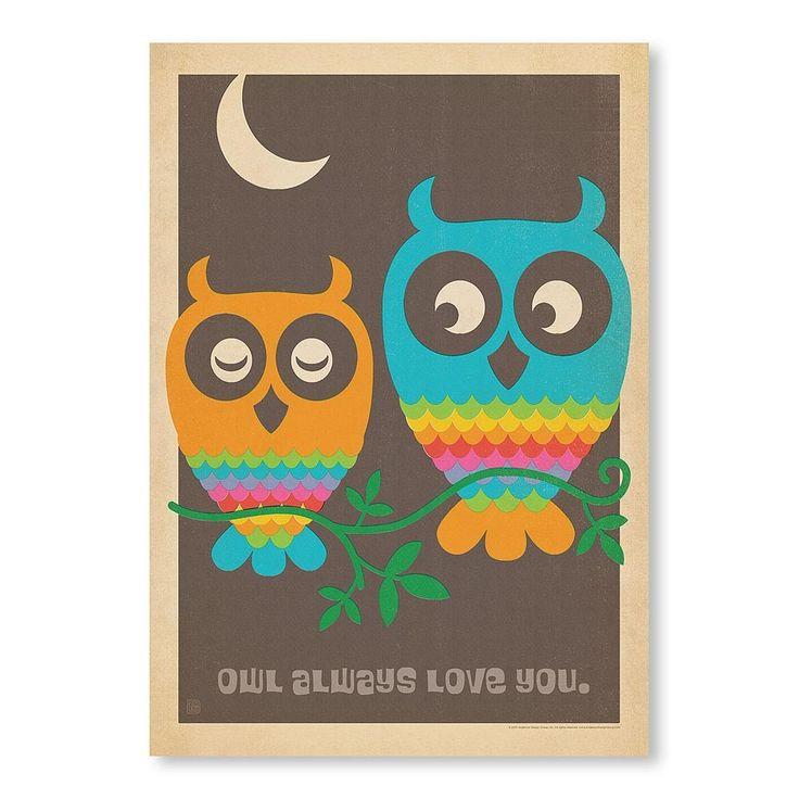MOD Owls Poster Print - Original Vintage Series - Temple & Webster presents