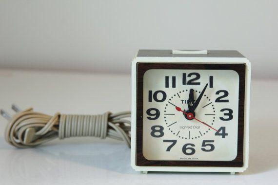 Vintage Timex Alarm Clock Faux Wood Grain by foundundertheeaves, $8.25