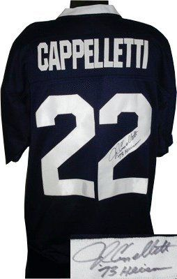 "John Cappelletti signed Penn State Nittany Lions Navy Custom Jersey 73 Heisman- PSA Hologram . $261.63. John Cappelletti attended the Penn State University, where he won the Heisman Trophy in 1973. He was inducted into the College Football Hall of Fame in 1993. Penn State football coach Joe Paterno said that Cappelletti was ""the best football player I ever coached"". As a senior tailback at Penn State, he gained 1,522 yards on 286 carries scoring 17 touchdowns as ..."