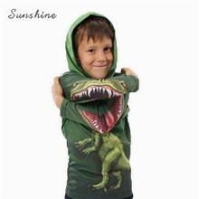 3D T shirts para crianças de algodão de manga comprida com capuz meninos e menina super cool dinossauro e homem aranha crianças camisetas 3D para a idade 3-11 anos(China (Mainland))