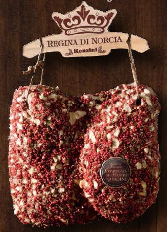 "la Regina di Norcia - The ""Queen"" is a boneless ham. The feature coverage with pink pepper flakes and garlic, as well as make it recognizable, giving it the unique taste of the genuine products."