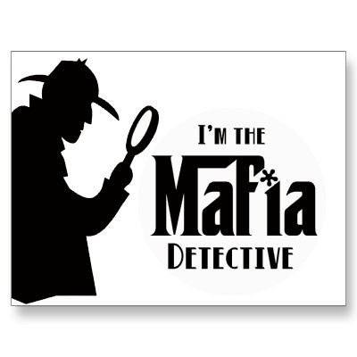 "GREAT IDEA FOR A MAFIA THEME BIRTHDAY PARTY!     Mafia Party Game: Fun for the whole family! Do you play Mafia the party game? If so, do you have trouble remembering which role you have been assigned? Eliminate that confusion with this convenient postcard! Cover text reads: ""I'm the Mafia Detective"". Back reads: ""Mafia: The Party Game"". **These designs are original works, can be purchased individually and are intended to assist in the playing of the party game commonly known as Mafia."