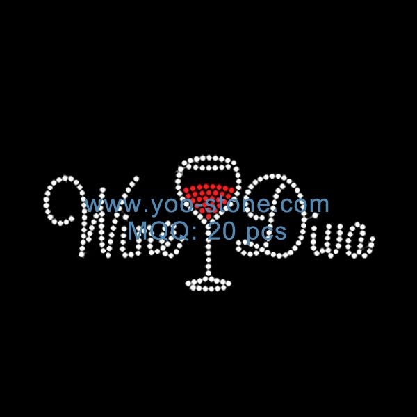 Crystal Wine Diva Rhinestone Accessories Wholesale, Wine Glass Iron On Transfers