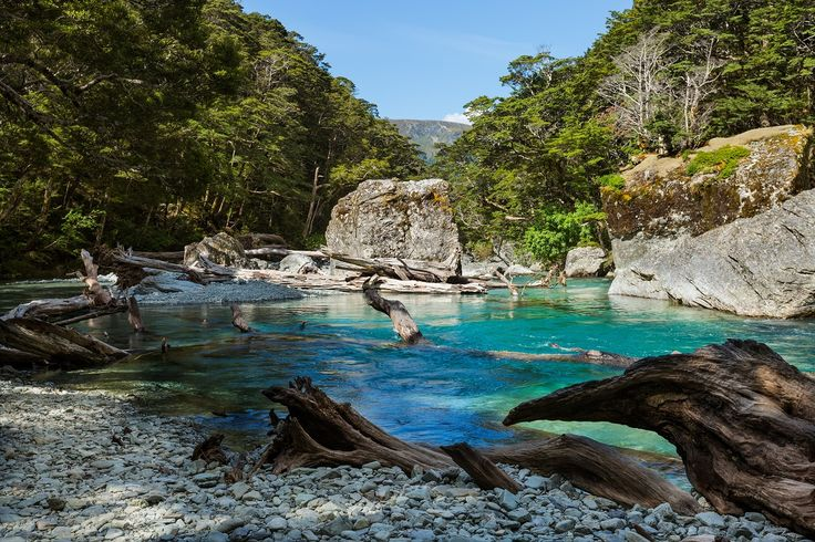 Stunning blue waters on the Routeburn Track. #NewZealandwalkingtours #WalkingNewZealand #NewZealandVacations