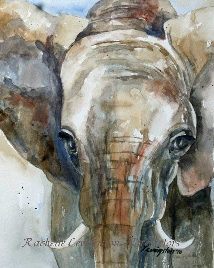 Large Elephant PRINT art  / Africa Home Decor  11 x14 (from Watercolor Elephant art Painting) in grey blue gray brown beige tan brown.