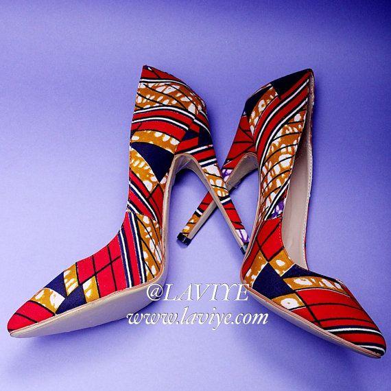 SAPPHIRA PUMPS Red & blue Ankara African print fabric by Laviye