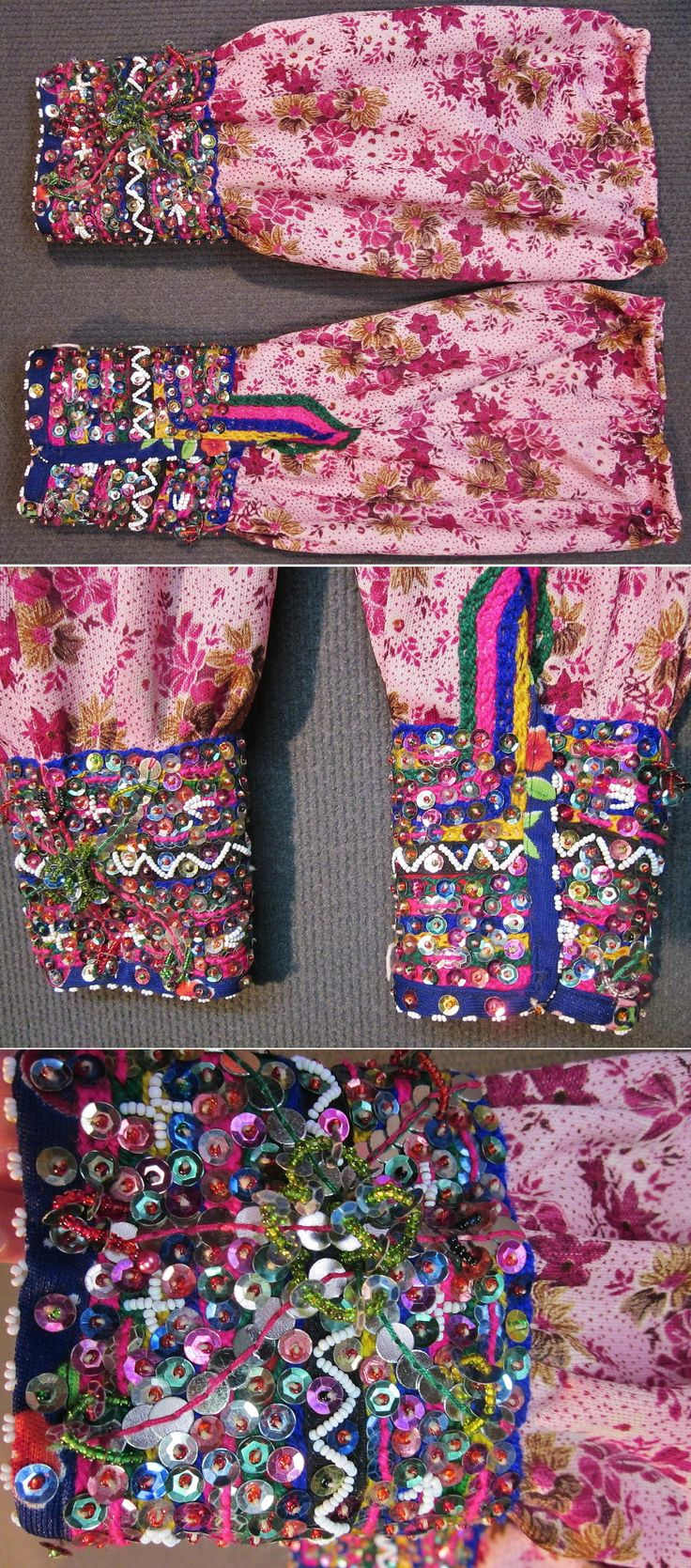 A pair of adorned 'kolluk'.  From the Pomak villages in the Biga district (Çanakkale province), 1950-1975.  'Kolluk' are upper arms protectors; generally made of a cheap kind of fabric - they avoid washing the full robe too often. These ones are not longer functional, but part of a traditional festive costume.  Made of a synthetic printed fabric; adorned with glass beads, metal & mica sequins and cotton embroidery.  (Inv.nr. koL003  - Kavak Costume Collection - Antwerpen/Belgium).