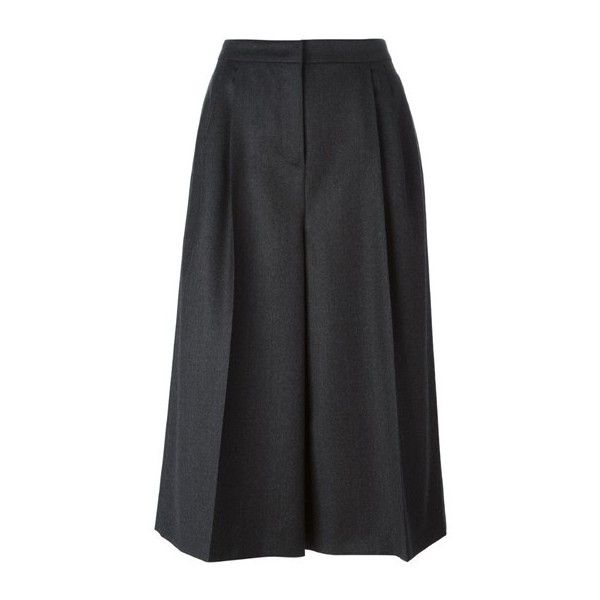 VALENTINO High Waisted Culottes (3.005 RON) ❤ liked on Polyvore featuring shorts, pants, grey, gray high waisted shorts, highwaisted shorts, gray shorts, high-waisted shorts and pleated shorts