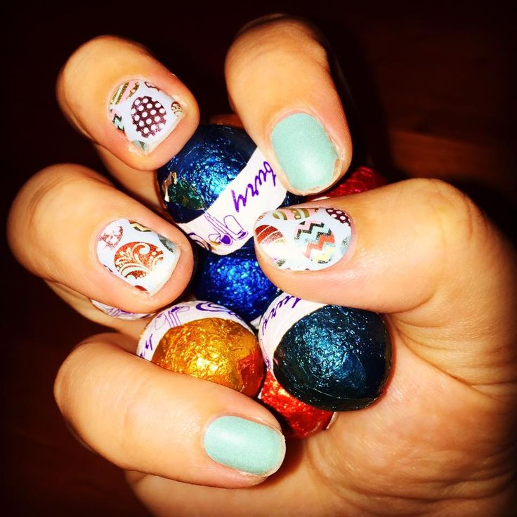 """Easter nails! """"Egg-citment"""" & """"Lagoon"""" available at nickystone.jamberry.com  #jamberry #nails #beauty #eggcitementjn #lagoonjn"""