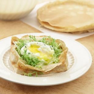 Bistro Salad Crepes Recipe. This looks perfect for Easter.  It looks like a nest or basket. :)