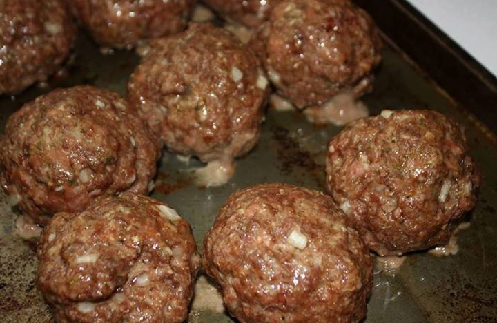 Incredible Baked Meatballs   If you are not FOLLOWING ME already -- WHY NOT??!! lol Make sure you click FOLLOW at the top of my page!   1 lb lean ground beef o... 2 eggs, beaten with 1/2 cup milk 1/2 cup grated Parmesan 1 cup panko or bread crumbs 1 small onion, minced 2 cloves garlic, minced 1/2 teaspoon oregano 1 teaspoon salt freshly ground pepper to taste 1/4 cup minced fresh basil  Mix all ingredients with hands. Form into golf ball sized meatballs. Bake at 350 degrees for 30 minutes.