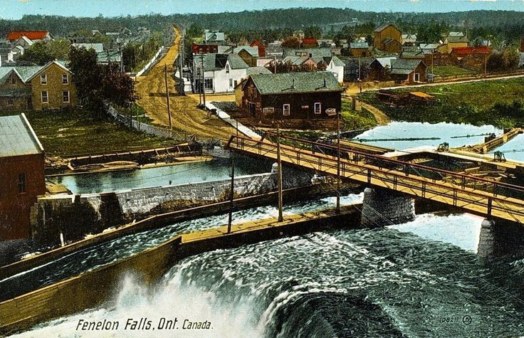 Fenelon Falls Historical view of the falls. #historical Ontario #tourism Ontario #ontario waterfalls  #destination ontario