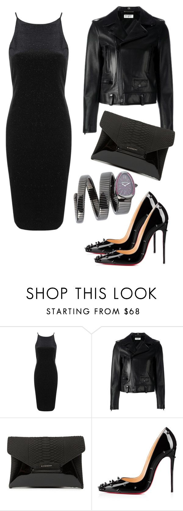 Outfit #143 by sofi6277 ❤ liked on Polyvore featuring Topshop, Yves Saint Laurent, Givenchy, Christian Louboutin, MAD, women's clothing, women's fashion, women, female and woman