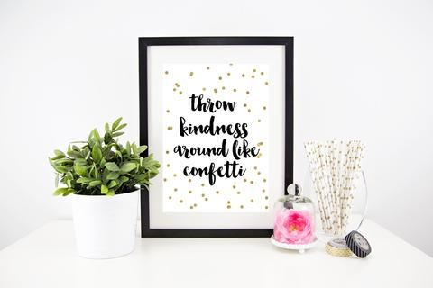 Framed wall print by lovepaperink, from $20, gold polka dot typography throw kindness around like confetti print, #homeprint #motivationalquote #throwkindnesslikeconfetti #wallprints #prettywallprints