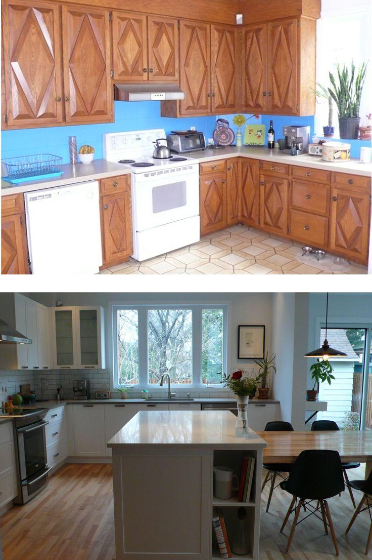 La nouvelle cuisine respire. Le blanc des armoires s'harmonise parfaitement au gris et au blanc des comptoirs de quartz.