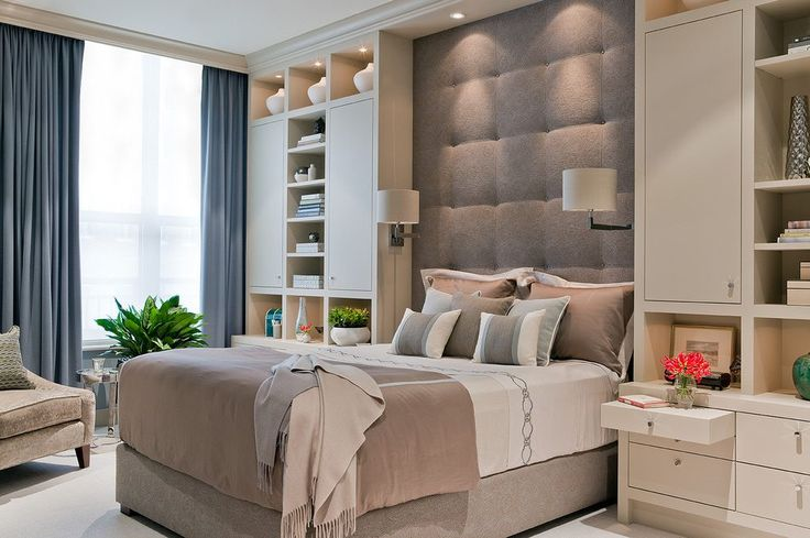 Headboard built in bedroom contemporary with seating area tall ceiling