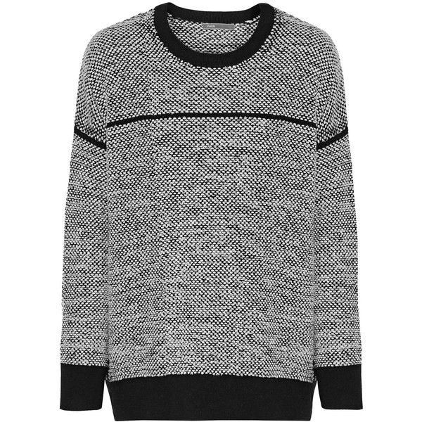 Vince - Textured Wool-blend Sweater ($177) ❤ liked on Polyvore featuring tops, sweaters, white, slouchy tops, textured top, slit tops, textured sweater and vince tops