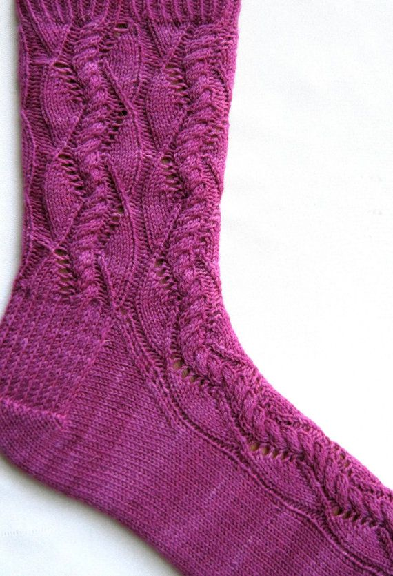Cable Knit Socks Pattern : Knit Sock Pattern: Cable Lace Waves Sock Knitting Pattern Cable, Knit socks...