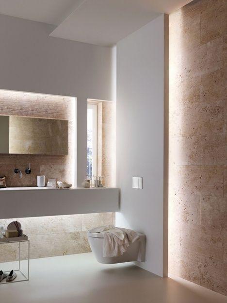 Magnifique contraste pierre laque blanche et ce jeu de - Lumiere salle de bain ...