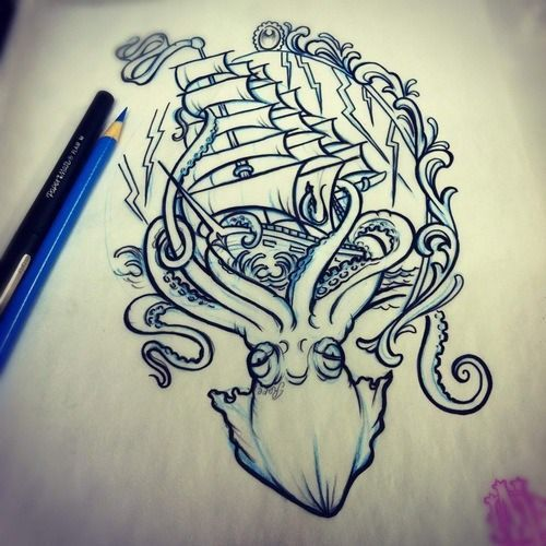 I love this for a thigh tattoo! kraken pirate ship