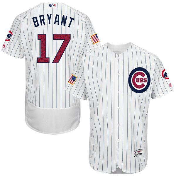 Chicago Cubs Kris Bryant Majestic White Authentic Stars & Stripes Flex Base Player Jersey