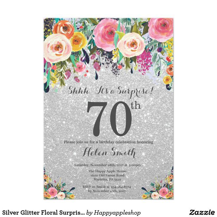 Silver Glitter Floral Surprise 70th Birthday Invitation