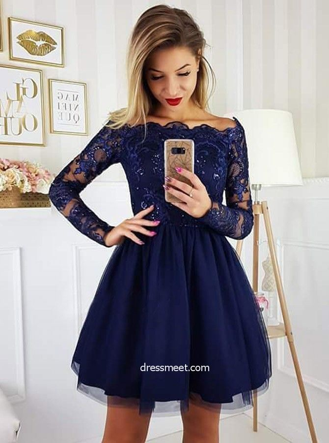 c9719be75 Cute A Line Off the Shoulder Long Sleeves Navy Short Homecoming Dresses  with Applique, Short Formal Prom Dresses HD0725010 | Dressmeet.com