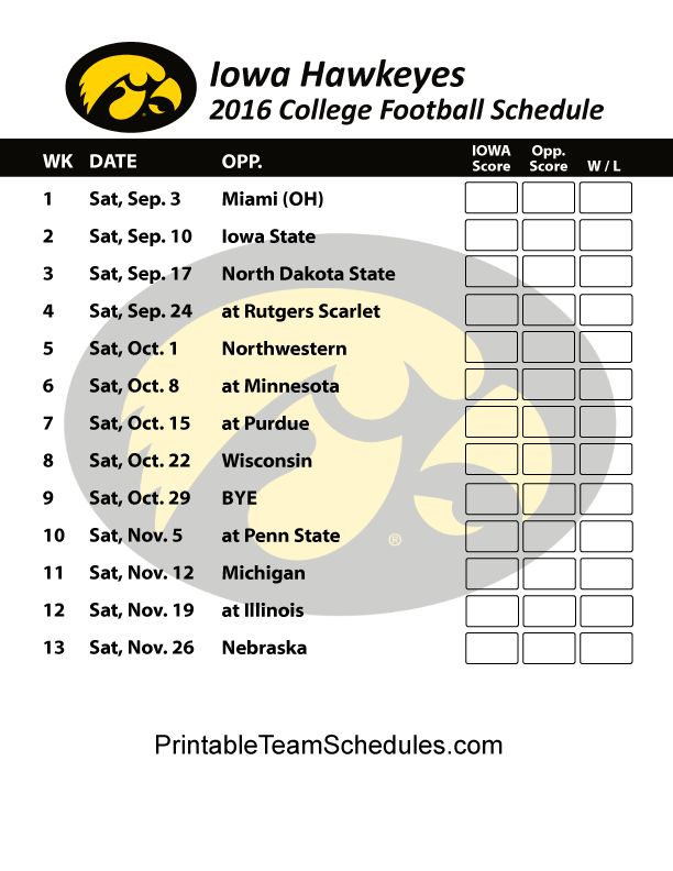 Iowa Hawkeyes  Football Schedule 2016. Score Updates & Printable Schedule Here - http://printableteamschedules.com/collegefootball/iowahawkeyes.php