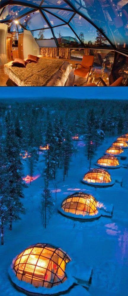Hotel Kakslauttanen, Finland en plein milieux des glaces et de la neige
