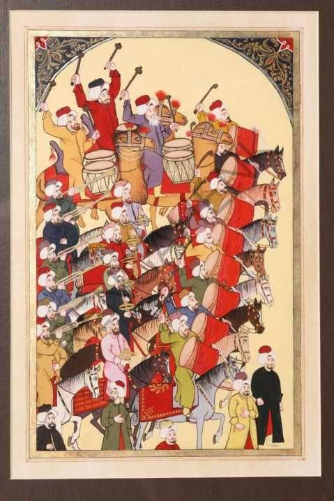 Levni'nin Kaleminden Mehter Takımı-Levni'nin perspektifi, resmettiği insanların kişisel özelliklerini yansıtmaya verdiği önemi, resimdeki renk ve kompozisyon uyumu Osmanlı Minyatür sanatı için oldukça önemli yeniliklerdi.