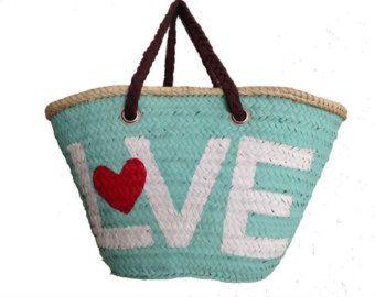 Manijas de tela bolsa de paja Málaga Amor / tejido / Brown / capazos bolsa de verano / Mediterráneo