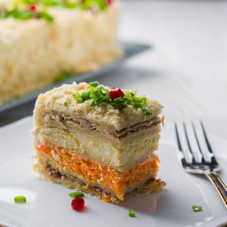 """Закусочный Торт """"Наполеон"""" на Новогодний Праздничный стол 2018"""