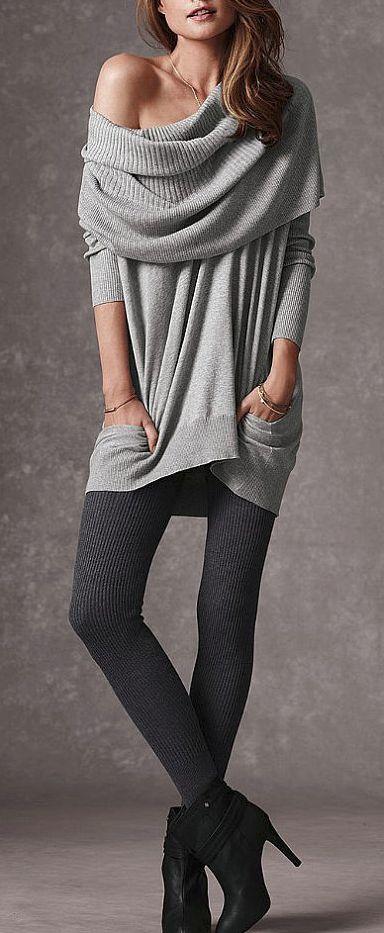 off shoulder slouchy sweater. I want it!  #VSinsider