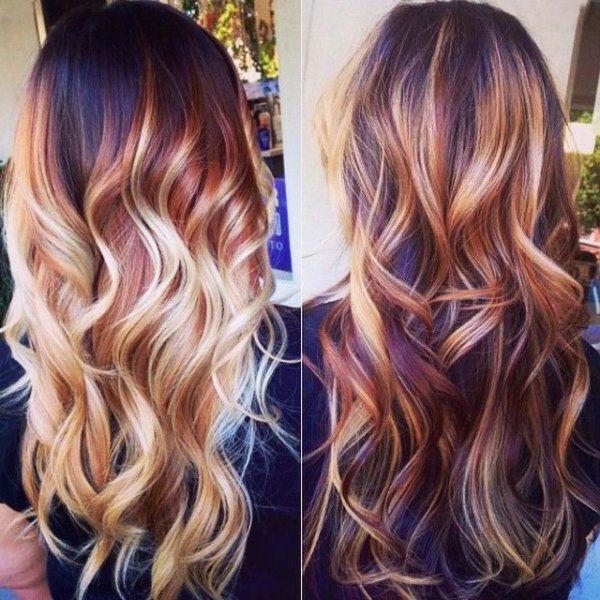 Dark Auburn Hair Color with Blonde Highlights