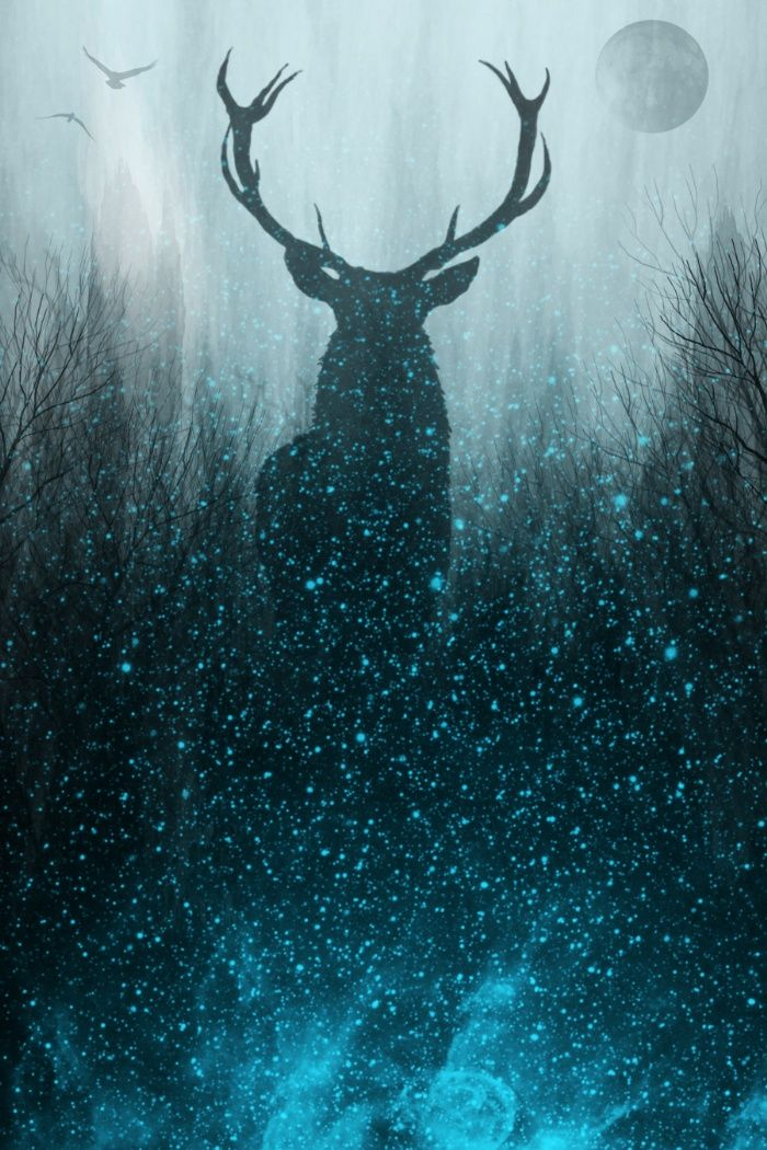 Snow Stag Art Print by The Mind Blossom