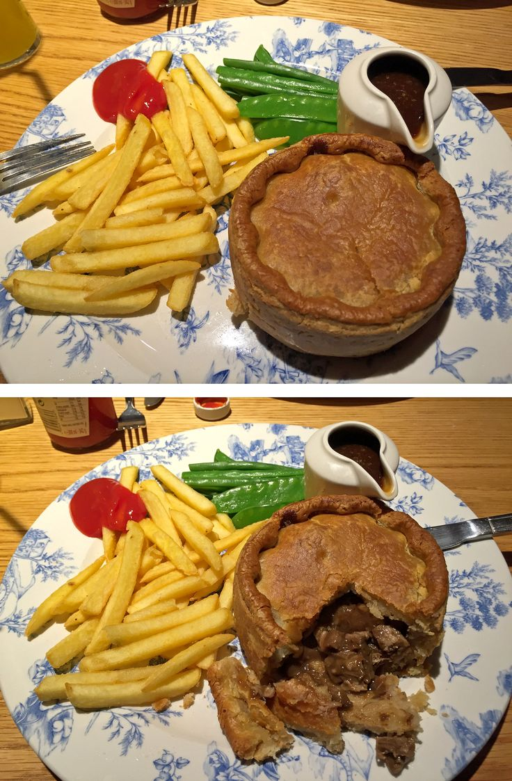 Classic English dinner - steak pie with potatoes and ...
