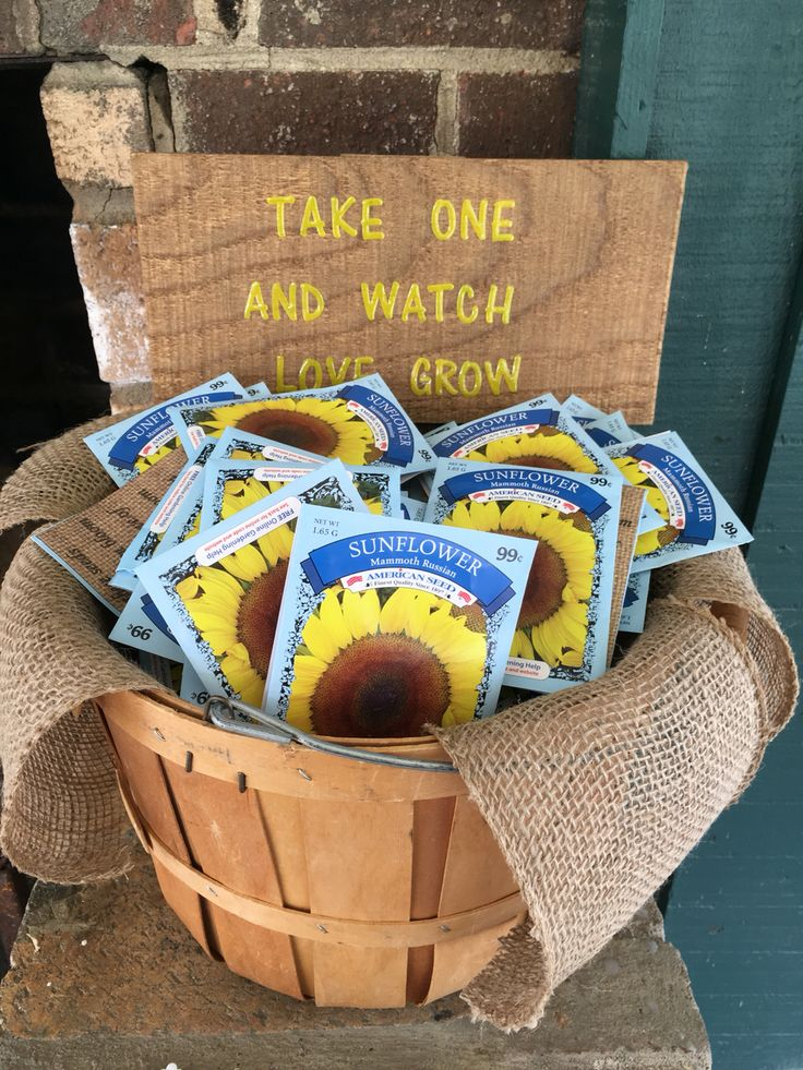 """Take one and watch love grow"" sunflower seeds as a thank you gift for a couples wedding shower"