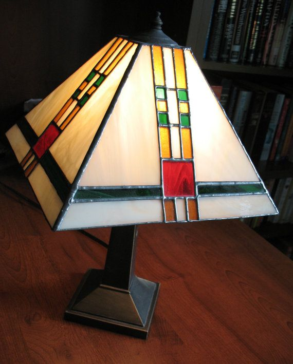 Stained glass desk lamp prairie style by thestudioatrushcreek 175 00