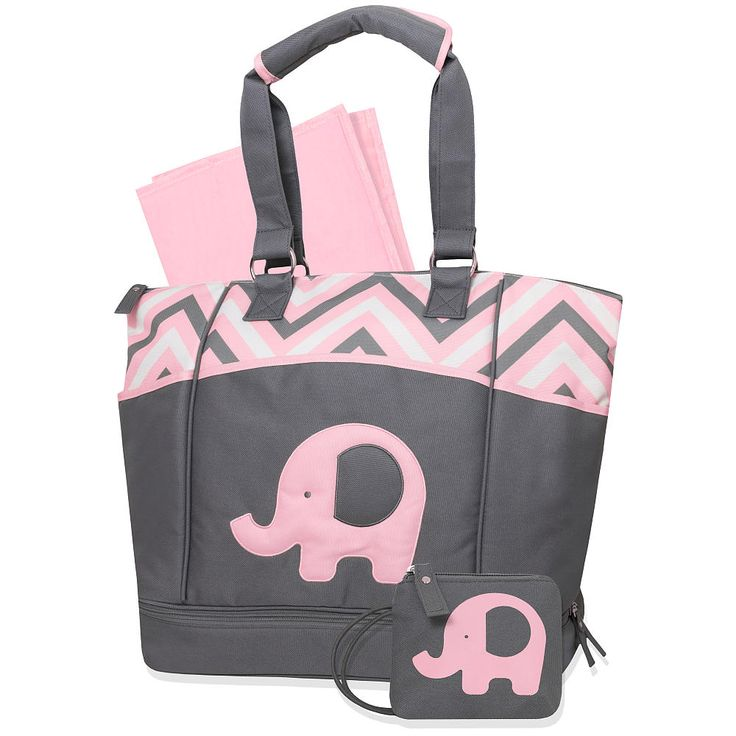 Baby Essentials Elephant Porta Bed Diaper Bag Pink