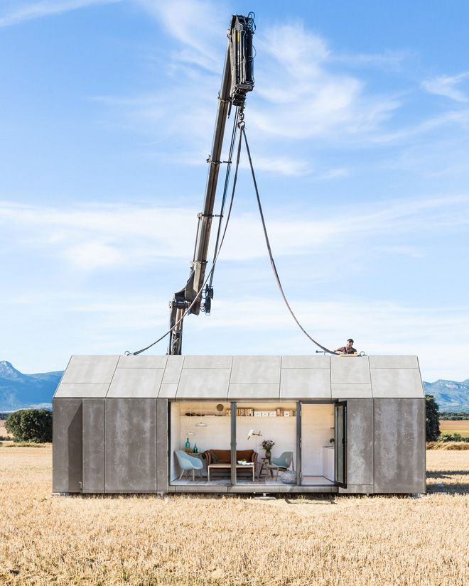 Spanish architecture studio Ábaton has developed a twenty-seven square metres house that can be easily transported on the back of a lorry and placed almost anywhere.  http://www.urdesign.it/index.php/2013/09/11/portable-house-aph80-by-abaton-arquitectura/