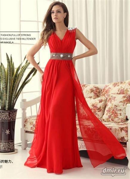 Платье греческого стиля красное