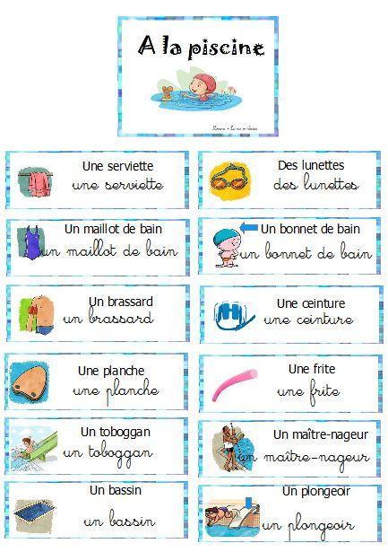 piscine, vocabulaire, étiquettes, mur de mots