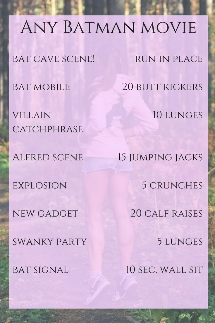 Batman Movie Workout! Let's finish off our superhero week with a Batman movie marathon! Or, maybe just one movie. I don't know if I could marathon this workout!
