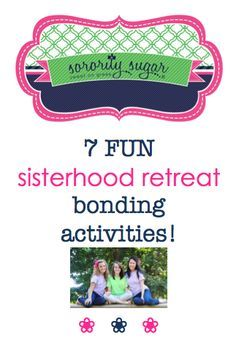 Soon it will be time for the new member retreat and your annual chapter retreat! Set goals for your retreat, plan events & games, provide supplies, food and drink ~ and you are sure to have an event that your chapter looks forward to each year. Check out these bonding ACTIVITES that your sisters will enjoy. <3 BLOG LINK: http://sororitysugar.tumblr.com/post/94074341199/sisterhood-retreat-activity-ideas#notes