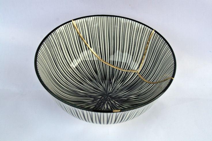 Kintsugi Vintage bowl, cuenco Kintsugi porcelana oriental. Colección Butterfly nº7 de KanelaSuri en Etsy